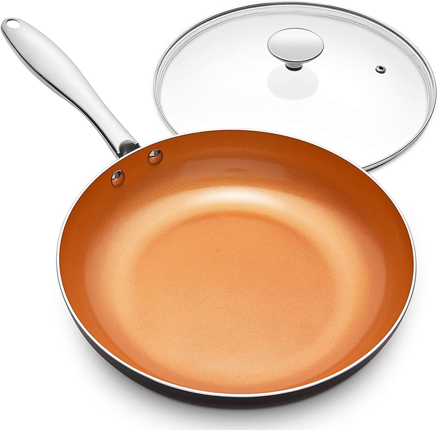 MICHELANGELO Frying Pan With Lid Non-stick 8 Inch Pan